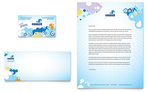 Car Wash Business Card & Letterhead Template