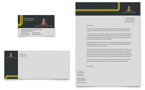 Trucking & Transport Business Card & Letterhead Template