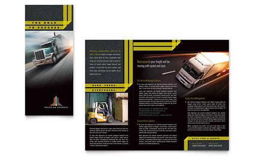 Trucking & Transport Tri Fold Brochure Template