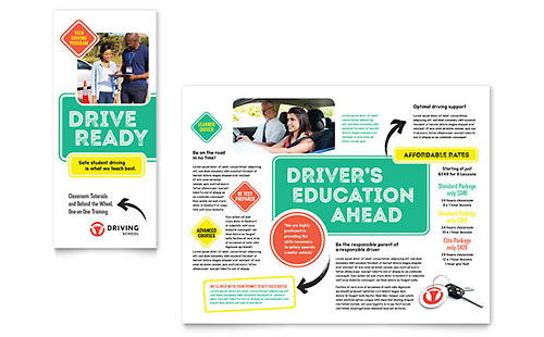 Driving School Print Design Brochure Template