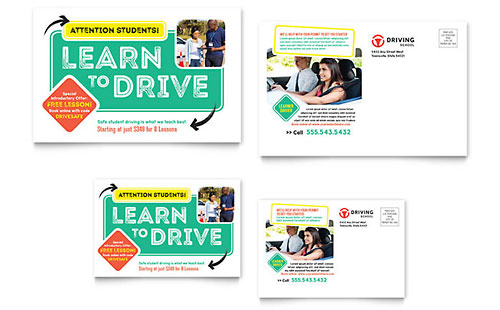 Driving School Postcard Template