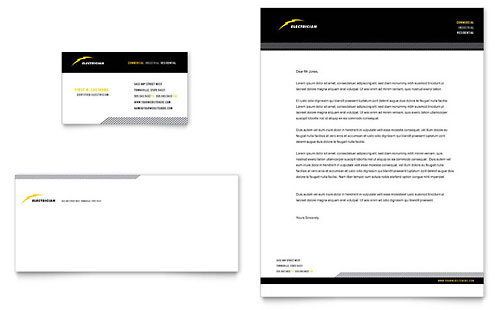 Electrician Business Card & Letterhead Template