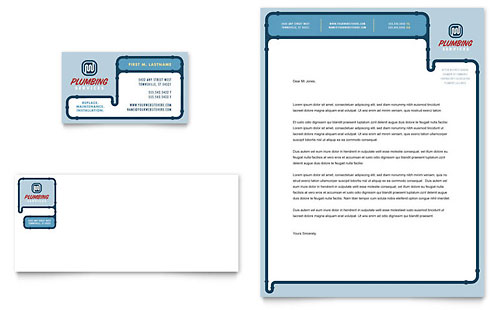 Plumbing Services Business Card & Letterhead Template