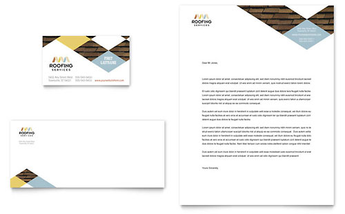 Roofing Contractor Business Card & Letterhead Template