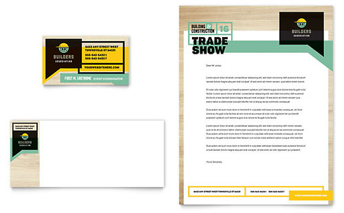Builder's Trade Show Business Card & Letterhead Template