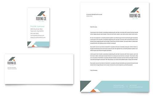 Roofing Company Business Card & Letterhead Template