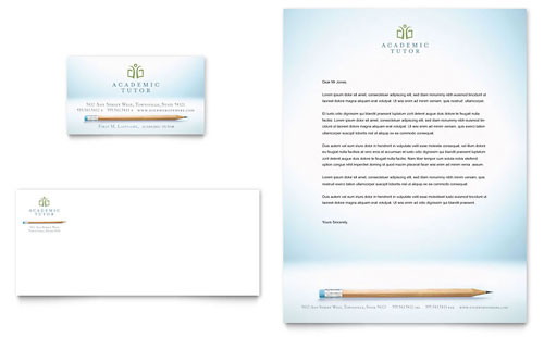 Academic Tutor & School Business Card & Letterhead Template
