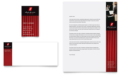Music School Business Card & Letterhead Template