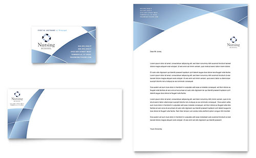 Nursing School Hospital Business Card & Letterhead Template