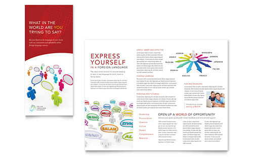 Language Learning Tri Fold Brochure Template