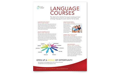 Language Learning Class Flyer Template