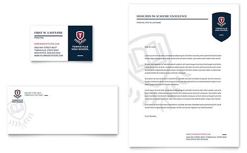 High School Business Card & Letterhead Template