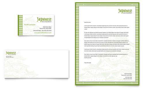 Japanese Restaurant Business Card & Letterhead Template