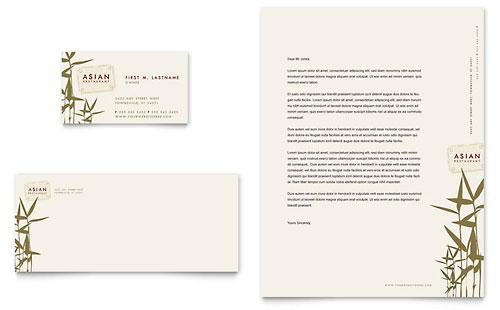 Asian Restaurant Business Card & Letterhead Template