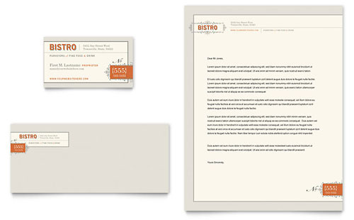 Bistro & Bar Business Card & Letterhead Template