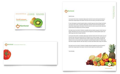 Nutritionist & Dietitian Business Card & Letterhead Template