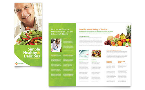 Nutritionist & Dietitian Tri Fold Brochure Template