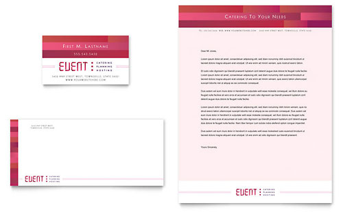 Corporate Event Planner & Caterer Business Card & Letterhead Template