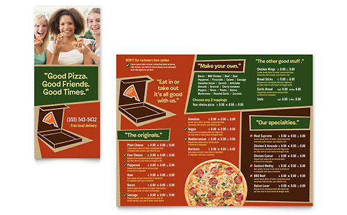 Pizza Pizzeria Restaurant Take-out Brochure Template