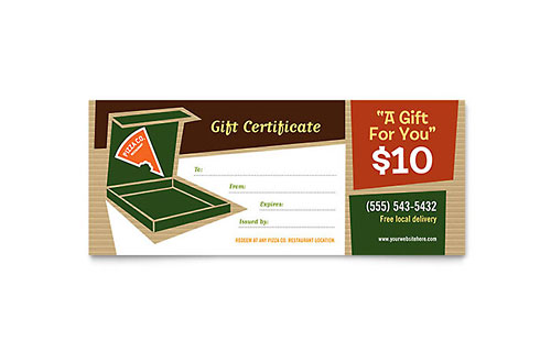 Pizza Pizzeria Restaurant Gift Certificate Template