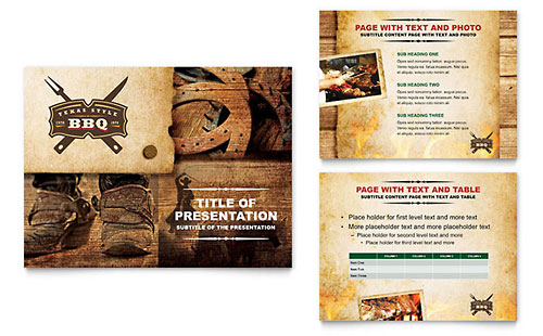 Steakhouse BBQ Restaurant Presentation Template - PowerPoint