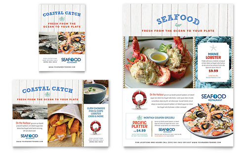 Seafood Restaurant Flyer & Ad Template