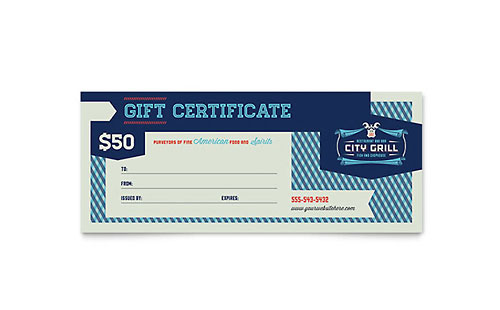 Fine Dining Restaurant Gift Certificate Template