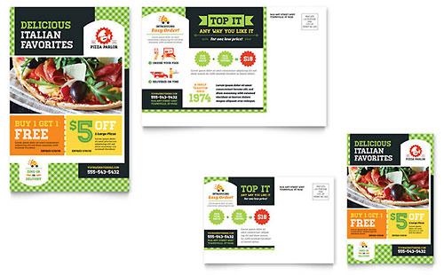 Pizza Parlor Postcard Template