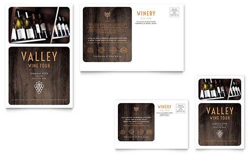 Winery Postcard Template