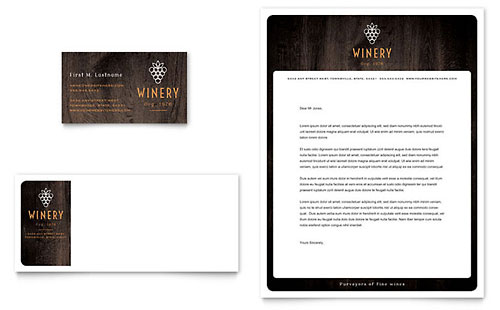 Winery - Business Card & Letterhead Template