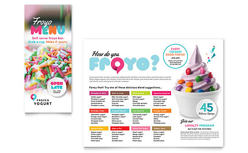 Frozen Yogurt Shop Take-out Brochure Template