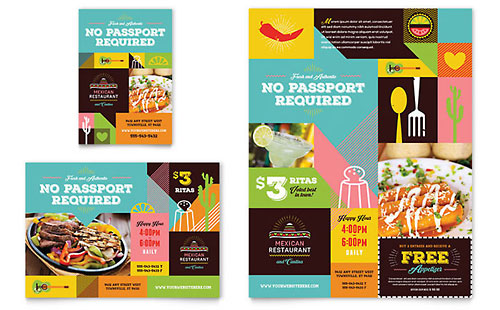 Mexican Food & Cantina Flyer & Ad Template