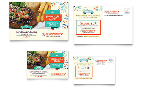 Family Restaurant Postcard Template Design
