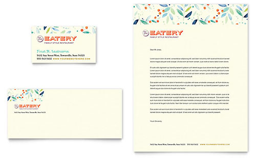 Family Restaurant Business Card & Letterhead Template