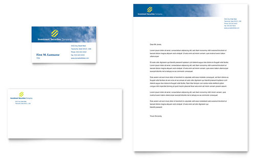 Investment Securities Company Business Card & Letterhead Template