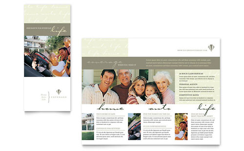 Financial services tri fold brochure templates for Insurance brochure template
