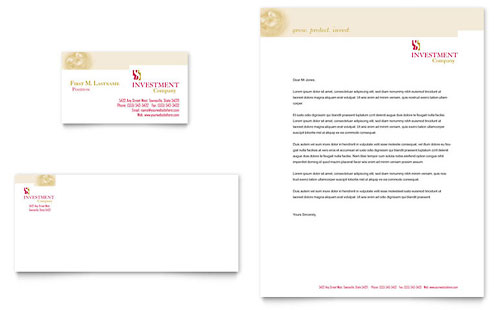 Investment Company Business Card & Letterhead Template