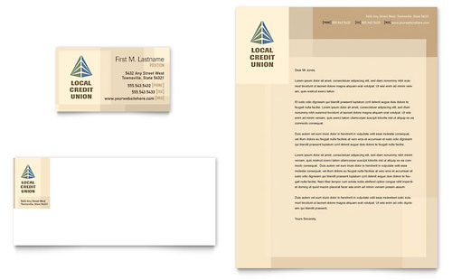 Credit Union & Bank Business Card & Letterhead Template