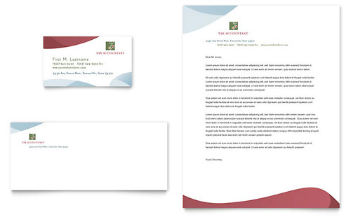 Tax Accounting Services Business Card & Letterhead Template