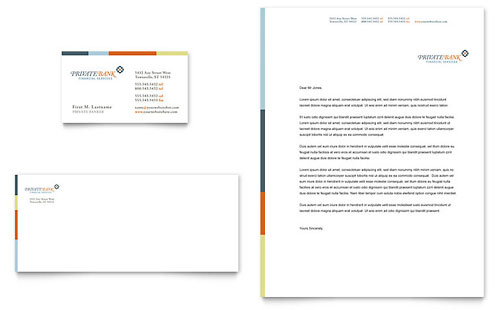 Private Bank Business Card & Letterhead Template
