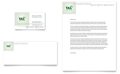Accounting & Tax Services Business Card & Letterhead Template