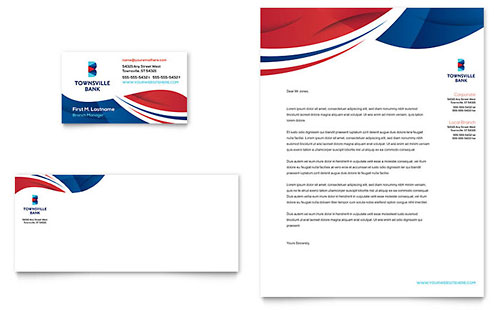 Bank Business Card & Letterhead Template