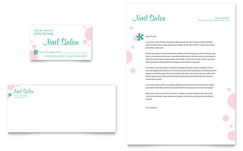 Nail Salon Business Card & Letterhead Template