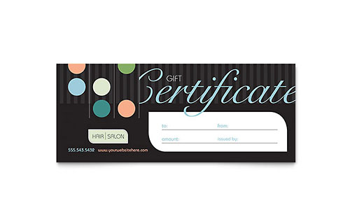 Beauty & Hair Salon Gift Certificate Template