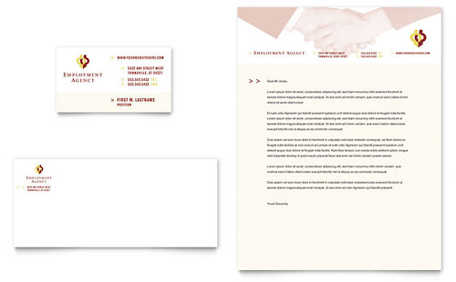 Employment Agency & Jobs Fair Business Card & Letterhead Template