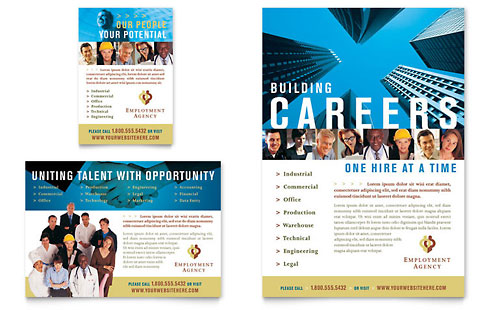 Employment Agency & Jobs Fair Flyer & Ad Template