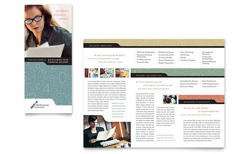 Bookkeeping & Accounting Services - Tri Fold Brochure Template
