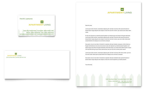 Apartment Living Business Card & Letterhead Template