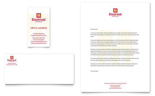 Electrical Services Business Card & Letterhead Template