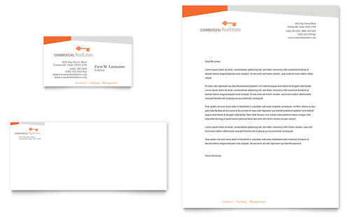 Commercial Real Estate Property Business Card & Letterhead Template